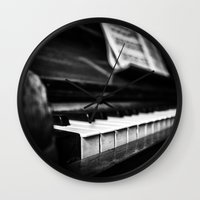 piano Wall Clocks featuring Piano by Monochrome by Juste Pixx