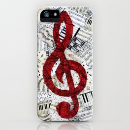 Red Treble Clef iPhone Case