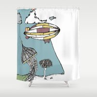 led zeppelin Shower Curtains featuring A Big Zeppelin Adventure by Indigo Images
