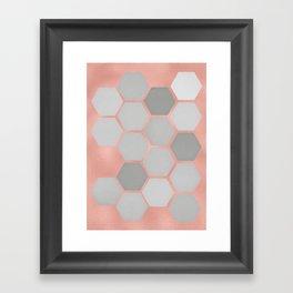 Honeycomb on Rose Gold Framed Art Print