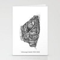 volkswagen Stationery Cards featuring Volkswagen Beetle by Akkattoos