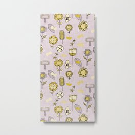midsummer retro floral grey Metal Print