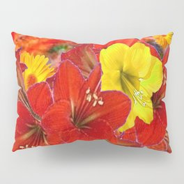 DECORATIVE RED-YELLOW AMARYLLIS BOUQUET Pillow Sham