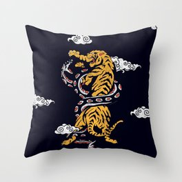 Tiger vs Snake Throw Pillow
