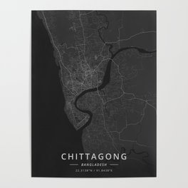 Chittagong, Bangladesh - Dark Map Poster