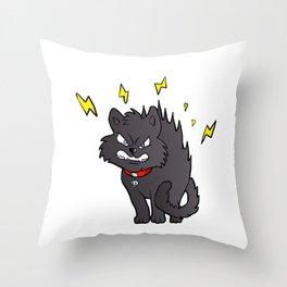 cartoon scared black cat Throw Pillow