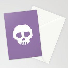 Pixel Skulls - Purple Stationery Cards