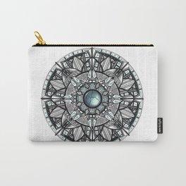 Charcoal Geometric Mandala Carry-All Pouch