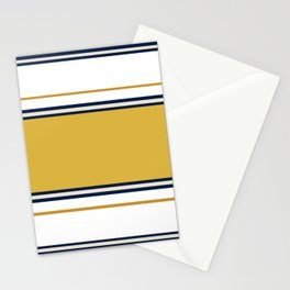 Wide and Thin Stripes Color Block Pattern in Mustard Yellow, Navy Blue, Champagne, and White Stationery Cards
