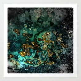 Gold Indigo Malachite Marble Art Print