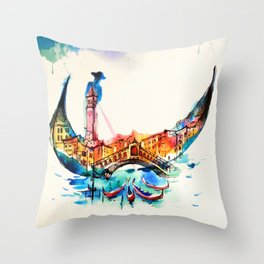 Vintage Gondola Venice City Travel Love Watercolor Throw Pillow
