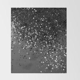Dark Gray Black Lady Glitter #1 #shiny #decor #art #society6 Throw Blanket