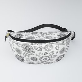 Seamless pattern with lace, diamonds, flowers, leaves. doodle, sketch Fanny Pack
