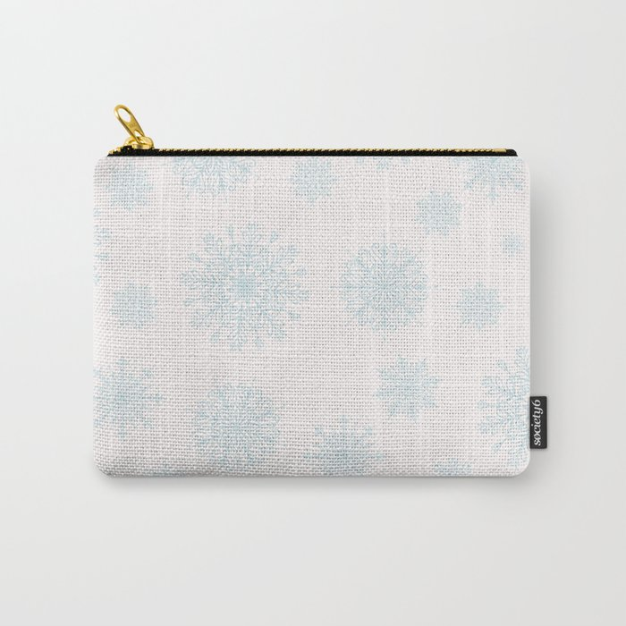 Assorted Light Blue Snowflakes On White Background Carry-All Pouch