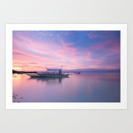 Amazing colourful sunset over the beach, Philippines Art Print
