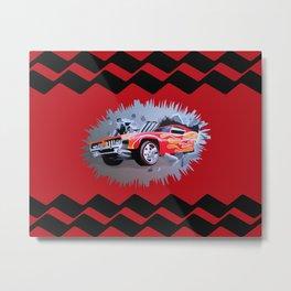 Hot Wheels Car Crashing Through Red Wall Metal Print
