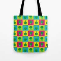 popart Tote Bags featuring Popart Broccoli by XOOXOO