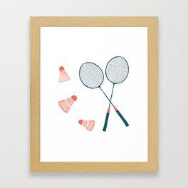 Vintage Badminton Print in blue and red Framed Art Print