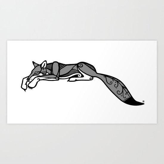 Sleeping Grey Wolf Art Print