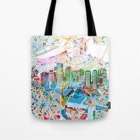 boston map Tote Bags featuring boston city skyline map by Bekim ART