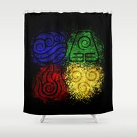 airbender Shower Curtains featuring Four Elements by sambeawesome