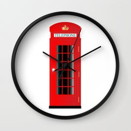 UK Telephone Box Wall Clock