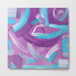 Ultra Violet / Teal Abstract Metal Print