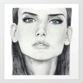 Dasha Dogusheva with Blue Eyes Art Print