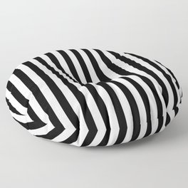 Abstract Black and White Vertical Stripe Lines 15 Floor Pillow
