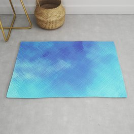 Turquoise Seas Abstract Watercolor - Crosshatched Rug