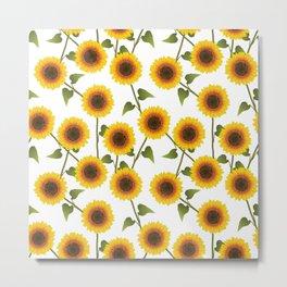Pretty Sunflower Pattern Metal Print