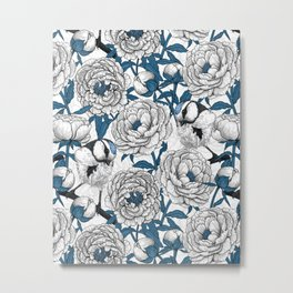 White peonies and blue tit birds Metal Print
