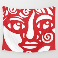 cara Wall Tapestries featuring Cara Roja by marialoor art