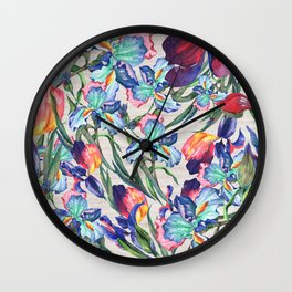 Ivory linen red teal navy blue watercolor irises flowers Wall Clock