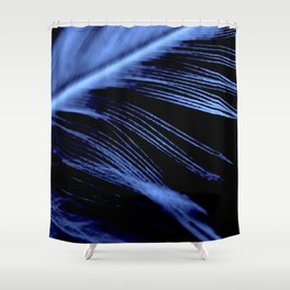 Blue Feather close up Shower Curtain
