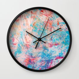 Abstract Embossed Texture Multi Colors Rainbow Red Orange Yellow Green Blue Purple Wall Clock