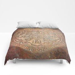 Antic Chinese Coin on Distressed Metallic Background Comforters