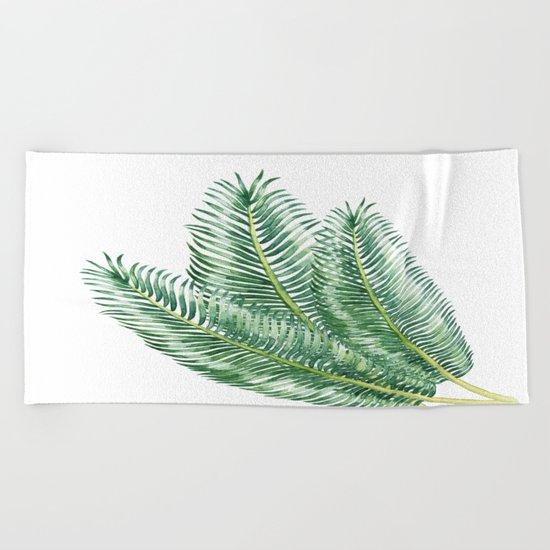 Three Palm Leaves Beach Towel