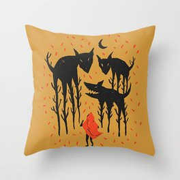 She persists - Wood Cut Art Work Gold Throw Pillow