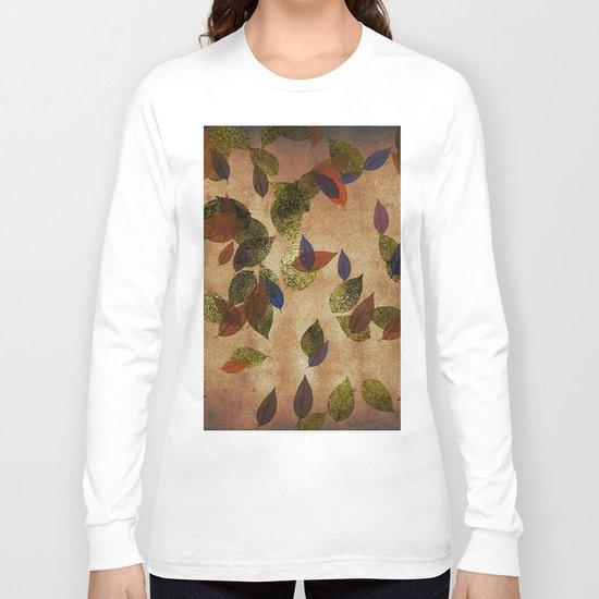 Autumn-world 3 - gold glitter leaves on dark backround Long Sleeve T-shirt