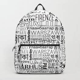 Text and the City - Black + White Backpack