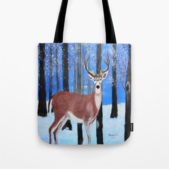 Buck by the trees Tote Bag