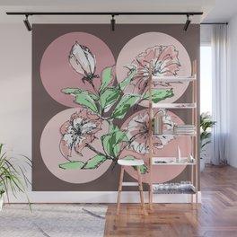 hand drawn flowers, modern print Wall Mural