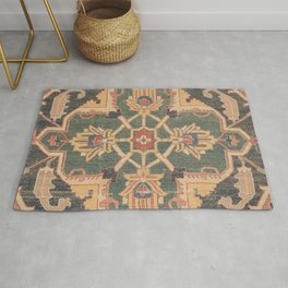 Geometric Leaves VI // 18th Century Distressed Red Blue Green Colorful Ornate Accent Rug Pattern Rug