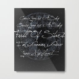 """A Sky Full of Stars"" Typography Metal Print"