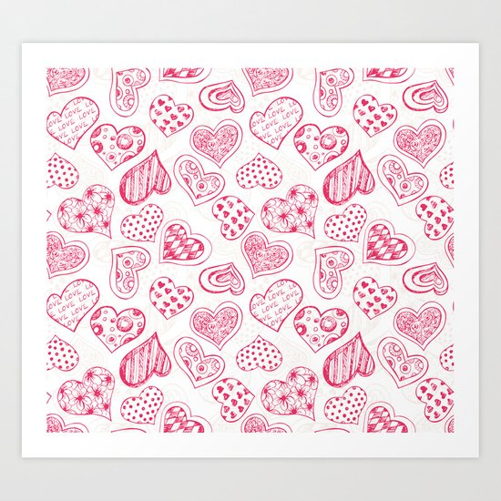 Pattern with red hearts Art Print