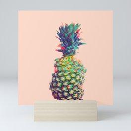 Vintage style pineapple with grunge glitch effect design Mini Art Print