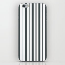 PPG Night Watch Pewter Green & White Wide & Narrow Vertical Lines Stripe Pattern iPhone Skin