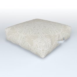 White Lace Mandala on Antique Ivory Linen Background Outdoor Floor Cushion