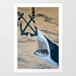 Great White Shark Mural Art Print